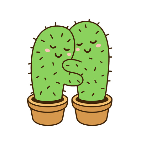 Illustration for Cactus hug vector drawing. Cute cartoon cactus couple in love, funny illustration. - Royalty Free Image