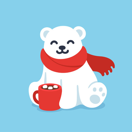 Illustration pour Cute cartoon polar bear in red scarf with hot chocolate cup. Christmas and winter holidays greeting card vector illustration. - image libre de droit