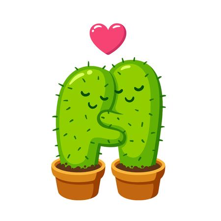 Cactus hug vector drawing. Cute cartoon cactus couple in love, funny illustration.