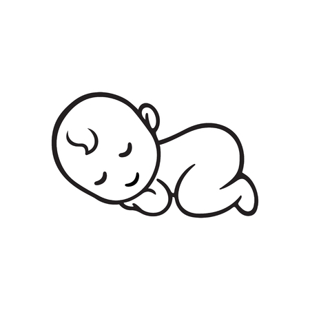 Ilustración de Sleeping baby silhouette, stylized line. Cute simple vector illustration. - Imagen libre de derechos
