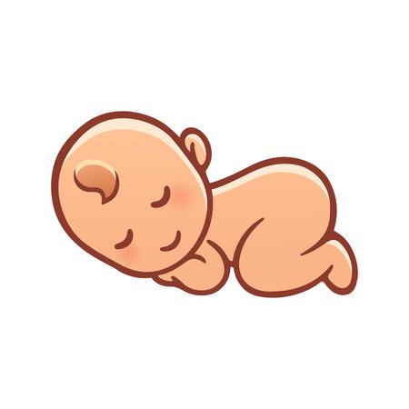 Foto de Cute sleeping baby drawing. Simple cartoon vector illustration. - Imagen libre de derechos