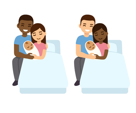 Illustration for Interracial couple with newborn biracial baby in hospital bed. - Royalty Free Image