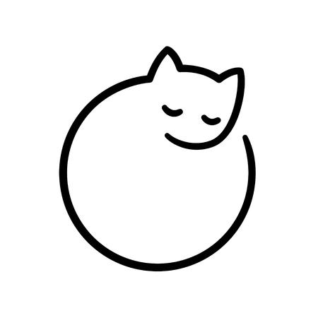 Illustration pour Minimal sleeping cat illustration, stylized simple circle logo. - image libre de droit