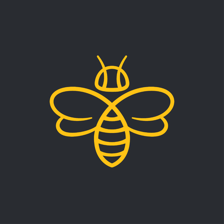 Ilustración de Bee or wasp logo design vector illustration. Stylish minimal line icon. - Imagen libre de derechos