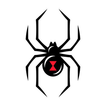 Ilustración de Black widow spider icon isolated on white background. Creepy spider logo vector illustration. - Imagen libre de derechos