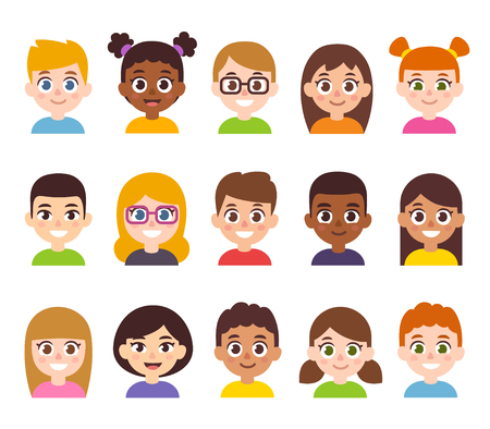 Illustration pour Cartoon children avatar set. Cute diverse kids faces, vector clipart illustration. - image libre de droit