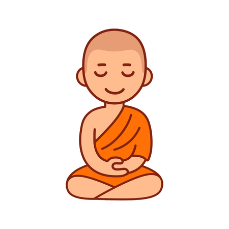 Ilustración de Buddhist monk in orange robes sitting in meditation. Cute cartoon tibetan monk meditating vector illustration. - Imagen libre de derechos