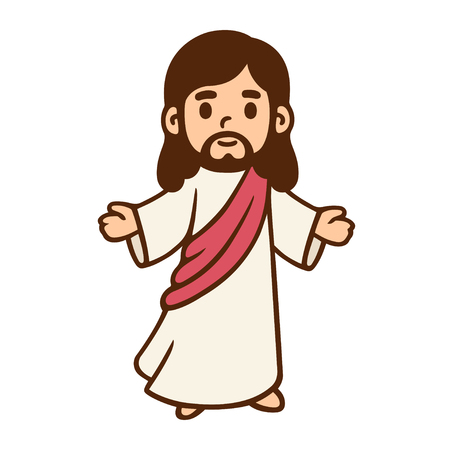 Ilustración de Jesus Christ in cute cartoon style. - Imagen libre de derechos