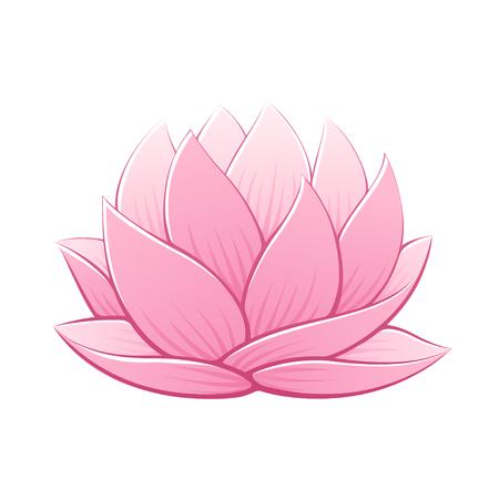 Illustration pour Pink lotus flower vector illustration. Beautiful realistic waterlily drawing. - image libre de droit