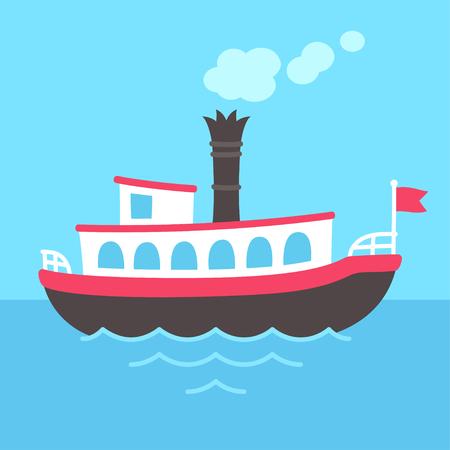 Illustration pour Cute cartoon retro riverboat drawing. Classic American passenger ferry ship vector illustration. - image libre de droit