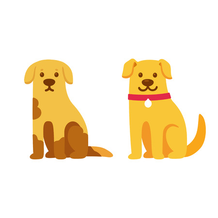 Illustration pour Skinny and dirty stray dog, happy and healthy rescue pet. Before and after adoption, cute cartoon drawing. Adopt a pet concept. Vector illustration. - image libre de droit