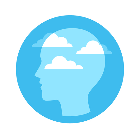 Illustration pour Head silhouette with blue sky and clouds. Mindfulness and meditation concept, vector illustration. - image libre de droit
