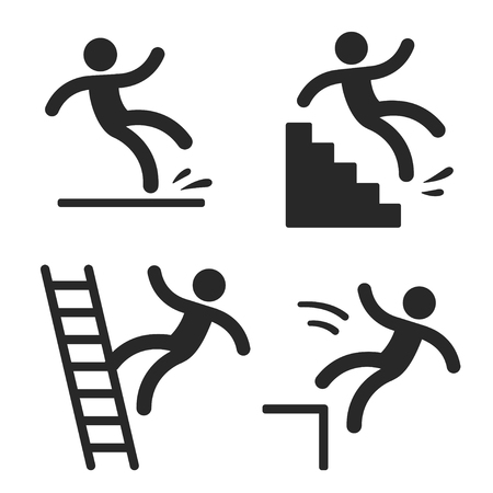 Illustration pour Caution symbols with stick figure man falling. Wet floor, tripping on stairs, fall down from ladder and over the edge. Workplace safety and injury. - image libre de droit