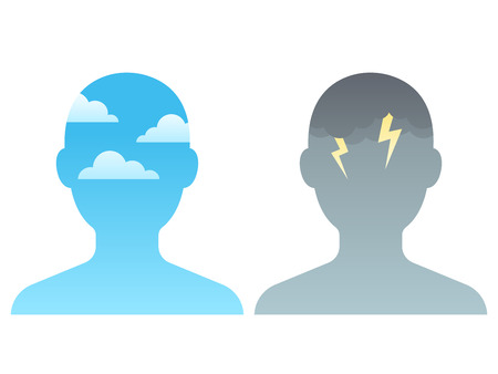 Illustration pour Head silhouette with blue sky and dark storm clouds. Mindfulness and stress management concept, vector illustration. - image libre de droit