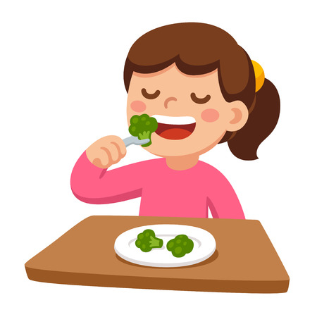 Illustration pour Cute cartoon happy girl eating broccoli. Healthy vegetable food and children vector illustration. - image libre de droit