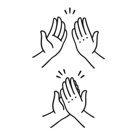 Ilustración de Sep of two hands clapping in high five gesture. Simple cartoon style vector illustration.  - Imagen libre de derechos