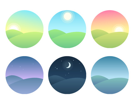 Nature landscape at different times of day. Soft gradients, simple and modern vector illustration set.