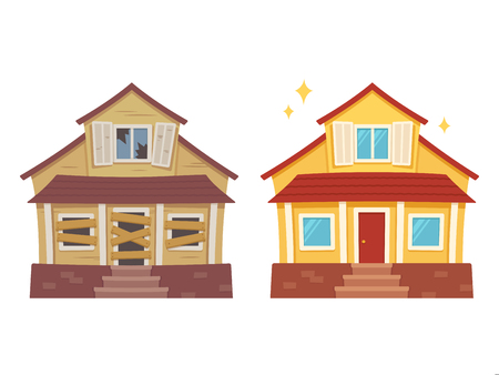Illustration for Fixer upper home renovation before and after. Old run-down house remodeled into cute traditional suburban cottage. Isolated vector illustration, flat cartoon style. - Royalty Free Image