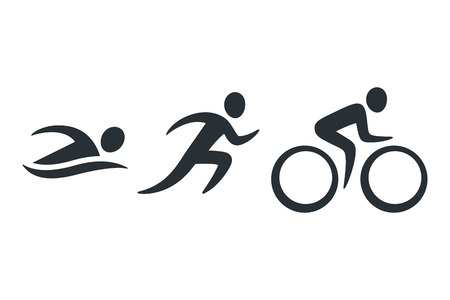 Photo for Triathlon activity icons - swimming, running, bike. Simple sports pictogram set. Isolated vector logo. - Royalty Free Image