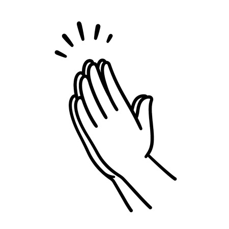 Illustration pour Praying hands drawing, simple line icon illustration. Hands folded in Christian prayer. - image libre de droit