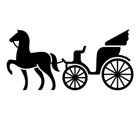 Ilustración de Vintage horse drawn carriage. Stylized silhouette of horse and passenger buggy. Black and white isolated vector illustration. - Imagen libre de derechos