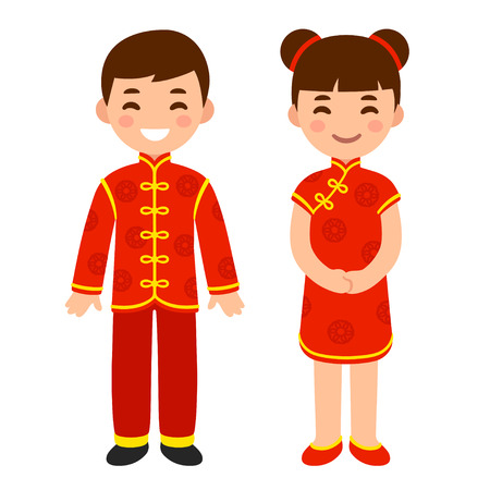 Illustration pour Cute boy and girl in national costume of China. Cartoon children in traditional red Chinese New Year clothes. Vector clip art illustration. - image libre de droit