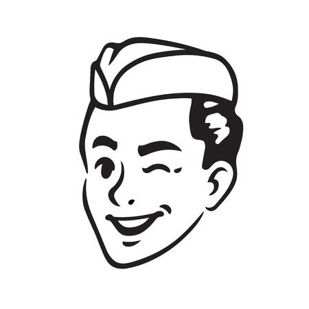 Ilustración de Retro portrait of Soda Jerk boy winking. Classic 50s soda fountain or ice cream server. Vintage vector illustration. - Imagen libre de derechos