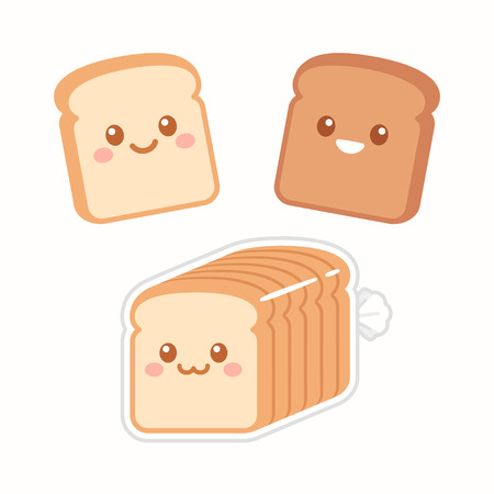 Illustration pour Cute cartoon slices of bread with kawaii faces. White and brown rye toast. Simple flat vector style illustration. - image libre de droit