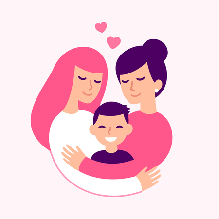 Illustration pour Gay couple with kid, happy lesbian women parents and son. Cute loving family hugging, vector illustration. - image libre de droit