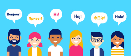 Illustration pour International group of people saying Hi in different languages. Diverse cartoon characters, modern flat vector style illustration. Learning, education and communication design element. - image libre de droit