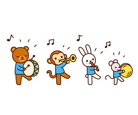 Cute cartoon animals marching band drawing  Kawaii animal