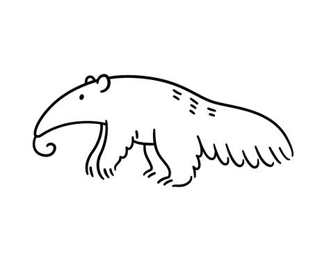 Illustration pour Cartoon anteater black and white line art drawing. Hand drawn animal illustration. - image libre de droit
