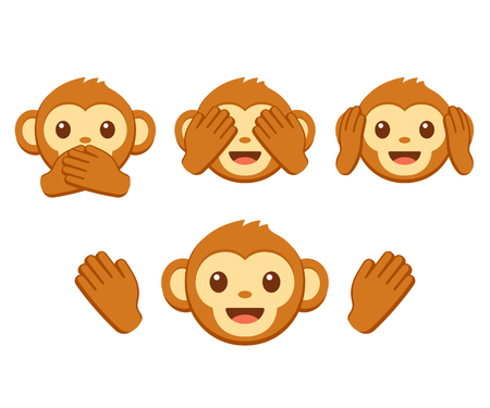 Illustration pour Cute cartoon monkey face emoji icon set. Three wise monkeys with hands covering eyes, ears and mouth: See no evil, hear no evil, speak no evil. Simple vector illustration. - image libre de droit