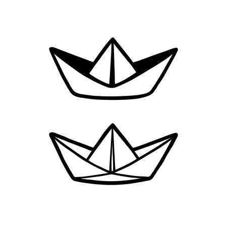 Origami boat icon simple black style Royalty Free Vector | 450x450