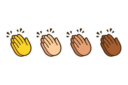 Ilustración de Clapping hands emoji, applause icon in different skin colors. Vector symbol illustration set. - Imagen libre de derechos