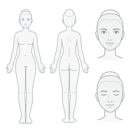 Ilustración de Female body and face chart, front and back view with head close up. Blank woman body template for medical infographic. Isolated vector illustration. - Imagen libre de derechos