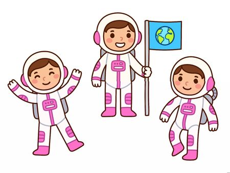 Ilustración de Cute cartoon astronaut girl set. Little girl astronaut in different poses, floating in space and holding flag. Isolated vector clip art illustration. - Imagen libre de derechos