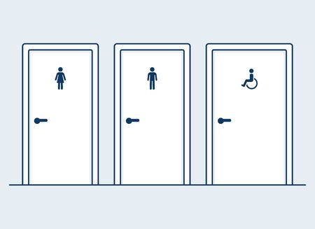 Illustration pour Male, female and disabled restrooms, simple and modern flat cartoon vector illustration. Man, Woman and handicapped (wheelchair) symbols on bathroom doors. - image libre de droit