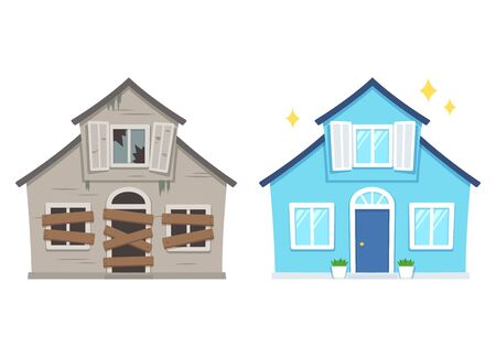Illustration pour Fixer upper home renovation before and after. Old run-down house remodeled into cute traditional suburban cottage. Isolated vector illustration, flat cartoon style. - image libre de droit