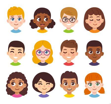Illustration pour Cute cartoon children avatars set. Diverse kids faces in simple hand drawn style, vector clipart illustration. - image libre de droit