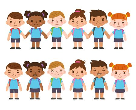 Illustration pour A set of six cute cartoon diverse children wearing school uniform with backpacks and holding hands. International group of kids, boys and girls. Isolated vector clip art illustration. - image libre de droit