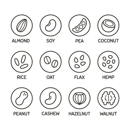 Illustration for Plant based milk alternative icon set. Nut and seed milk, beans and grains. Labels for non-dairy beverages, vector symbols. - Royalty Free Image