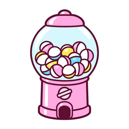 Illustration for Cute cartoon gashapon, capsule vending machine. Pink Japanese collectible toy dispenser, vector clip art illustration. - Royalty Free Image