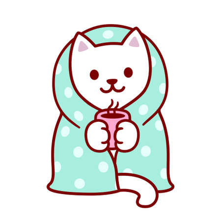 Illustration for Cute cartoon cat with blanket and cup of hot tea. Kawaii white kitten in warm cozy blanket. Isolated vector clip art illustration. - Royalty Free Image
