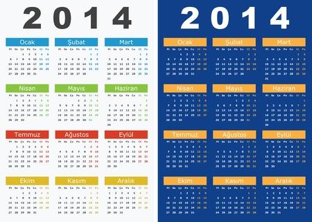 Illustration pour Vector illustration of 2014 Calendars in Turkish Language - image libre de droit