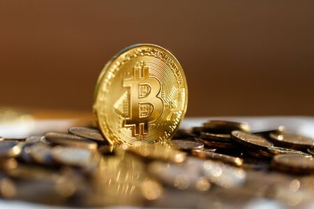 Bitcoin closeup shimmers in gold in the sun. Coins, finances