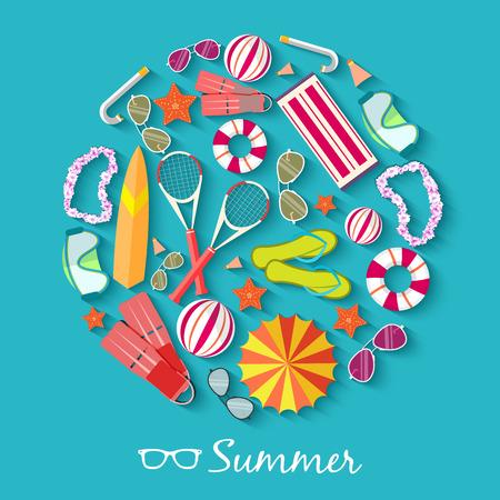 Illustration pour summer vecetion time background vector illustration concept - image libre de droit