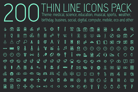 Illustration for collection thin lines pictogram icon set concept background. Vector template design for web and mobile application. - Royalty Free Image