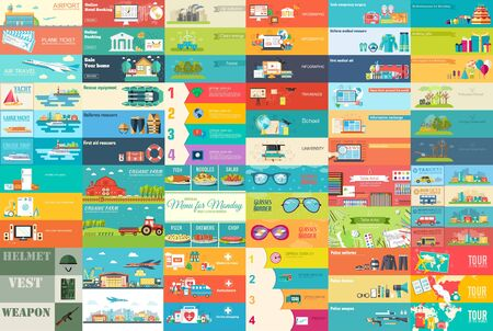 Big collection of banners in flat style. In Set themes: business, airport, online workshop, travel, medicine, eco, news, home appliance, farm, food, glasses, city, army, painter, export. Vector design