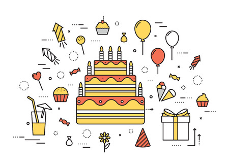 Vektor für Thin line happy birthday party modern illustration concept. Infographic guide way from candy to the cake. Icon isolated on white background. Flat vector template design for web and mobile application - Lizenzfreies Bild